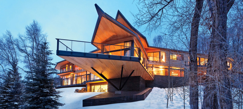 The house's dramatic form, with a pointed balcony and overhangs, was inspired by the image of birds taking flight.