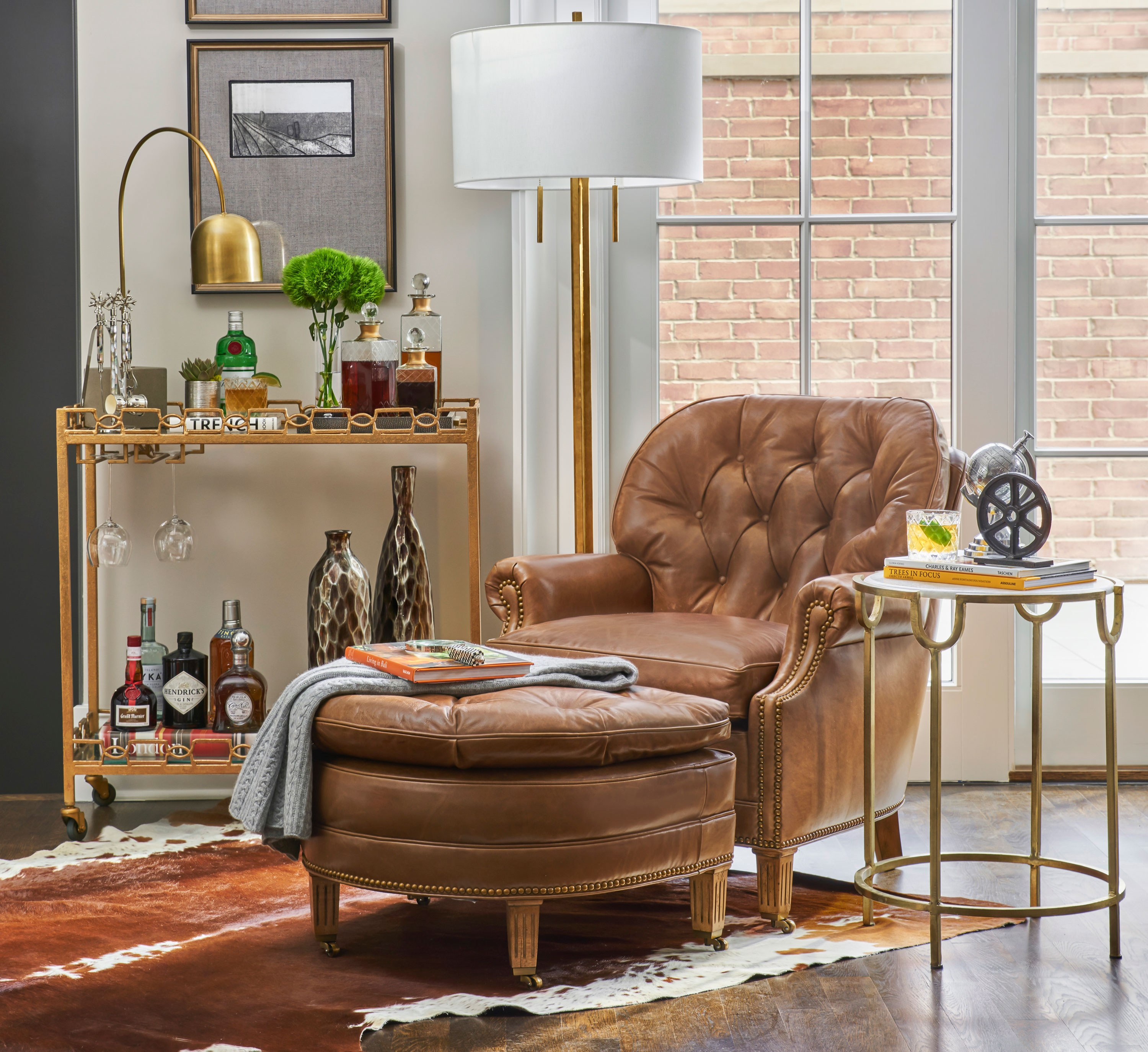 """Bar carts are both functional and decorative. They are a great addition to any entertaining space. While some prefer a fully stocked bar, it also can easily be used as an accent table."""